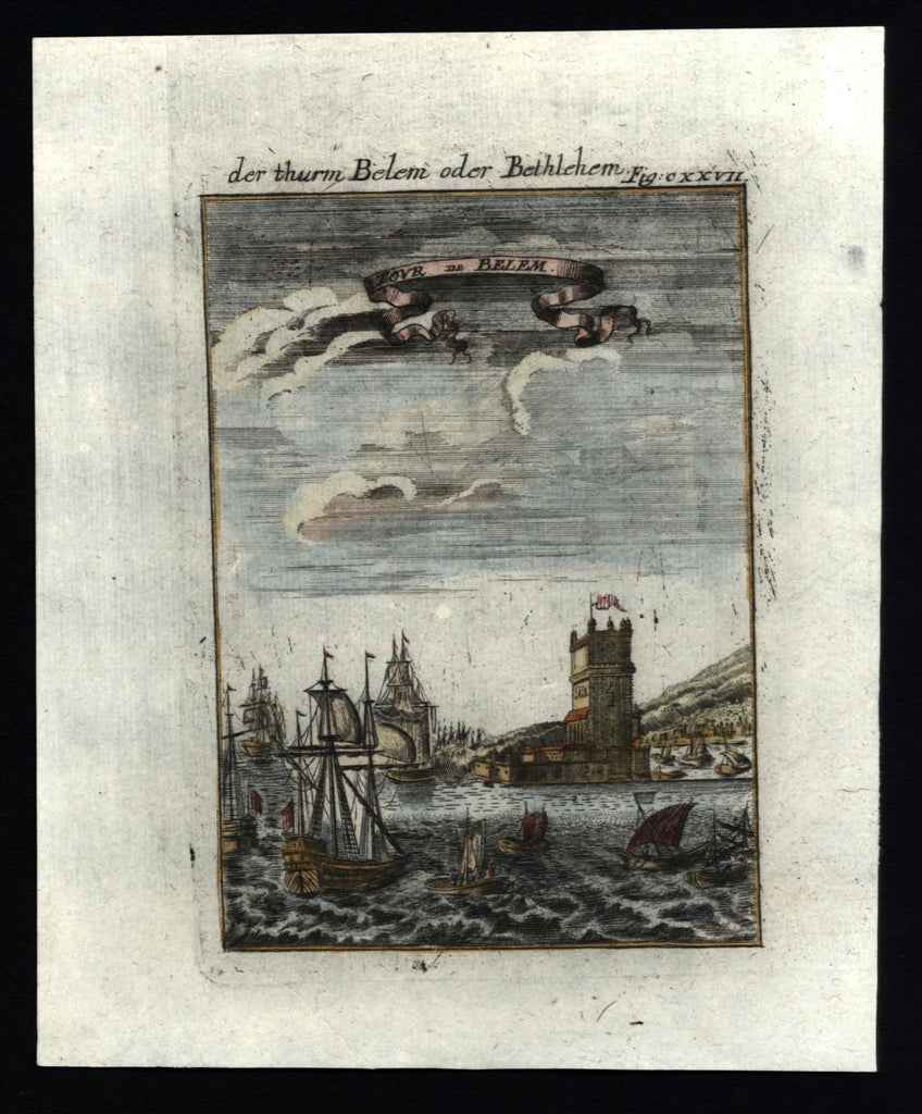 Belem Bethlehem Portugal 1719 charming miniature harbor view tall ships fortress
