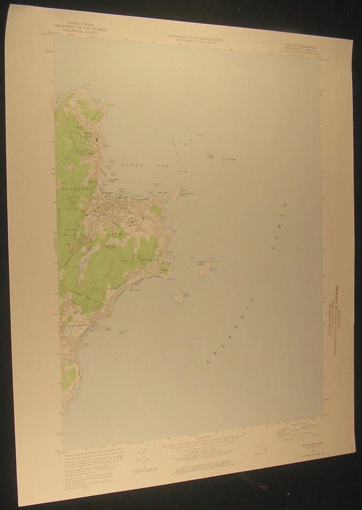 Rockport Milk Island Massachusetts Sandy Bay 1976 antique color lithograph map