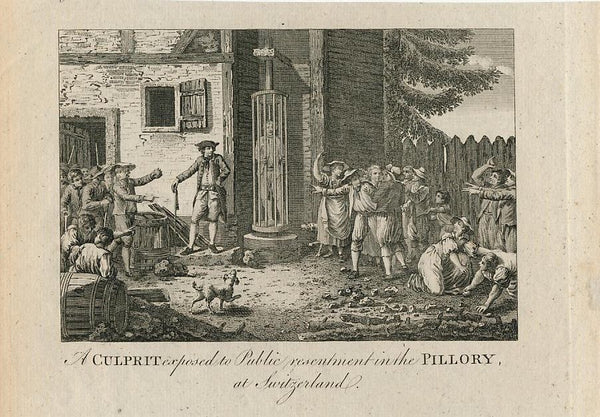 Caged prisoner stoned in Switzerland nice ca.1780's old vintage engraved print