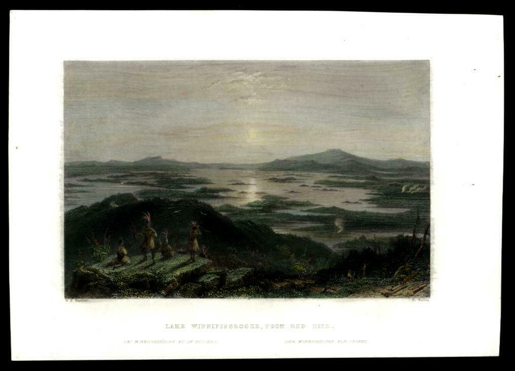 Lake Winnipesaukee New Hampshire birds-eye c.1850 Bartlett hand colored print