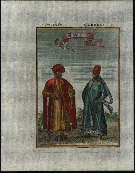 Arabs Middle Eastern natives turbans 1719 Mallet miniature antique print color