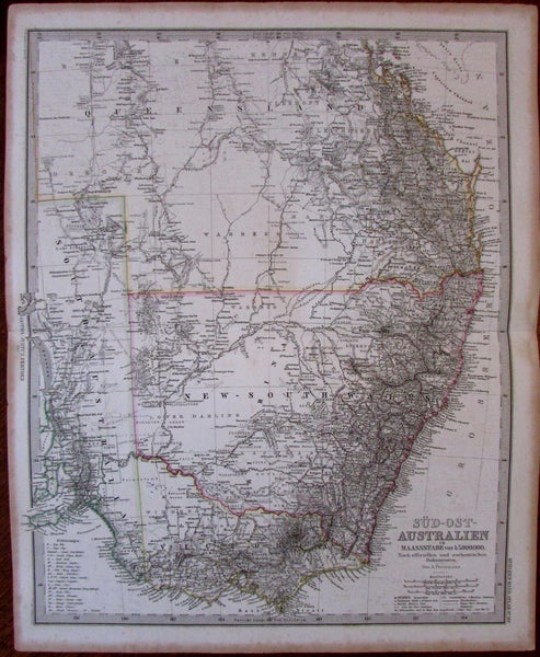 Southeast Australia NSW New South Wales c.1867 Petermann detailed German map