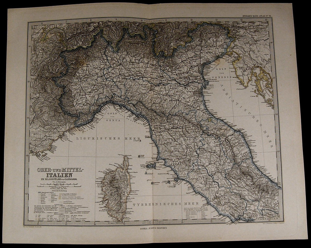 Northern Central Italy Corsica Rome Adriatic Sea nice 1885 fine old detailed map