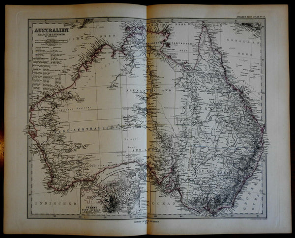 Australia continent by itself endless details 1878 Petermann Stieler map