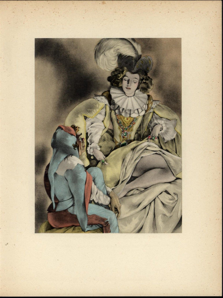 Beautiful Woman Exposing Bare Leg to a Jester nice 1937 Art Deco Erotica print