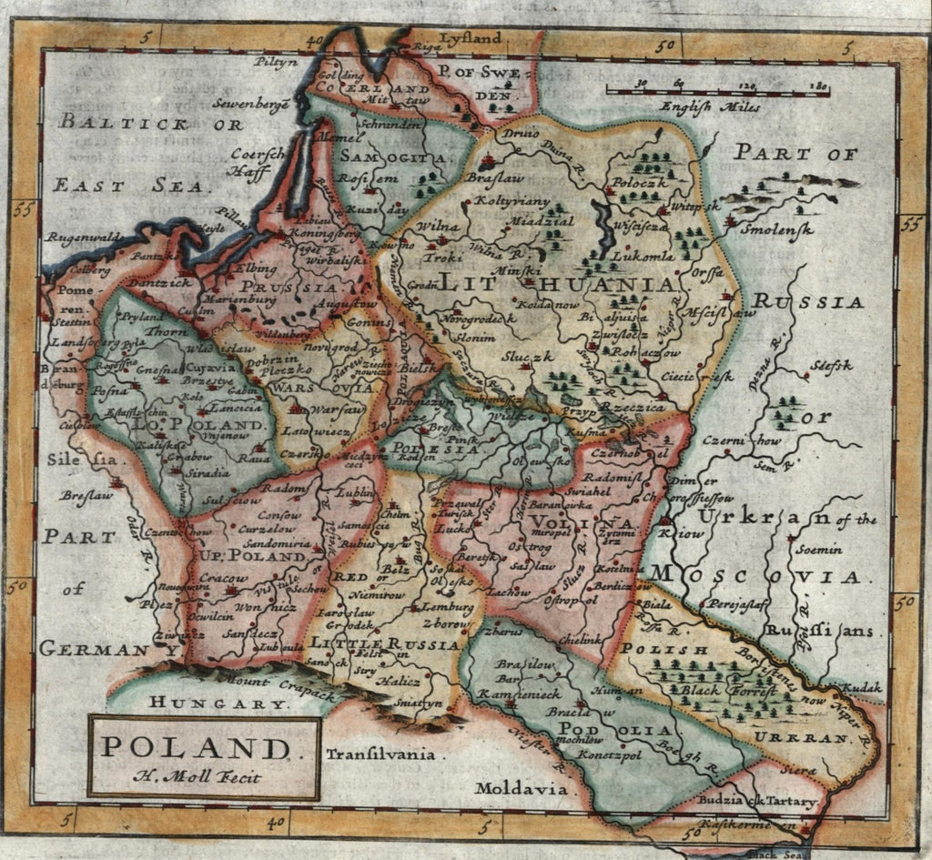 Poland Lithuania Russia 1709 Moll Old Map Lovely Hand Color Brian