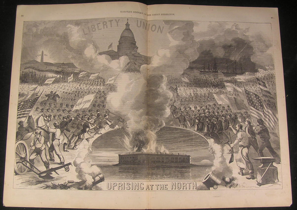 Union Army Mobilizing Suppress Rebellious South 1866 antique wood engraved print