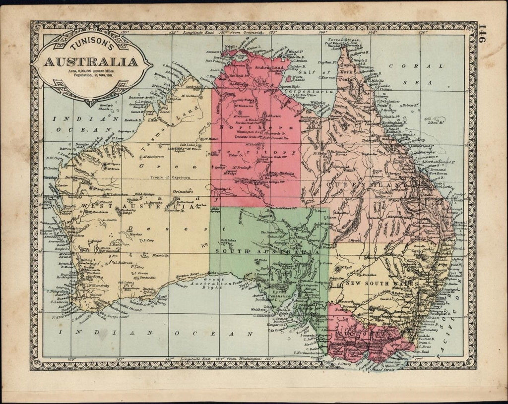 Australia continent population 2, 538,196 Issued c.1882 nice hand color old map