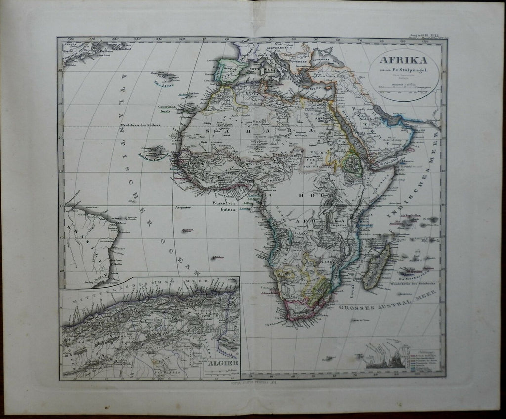 African Continent European Colonies Algiers Natal 1875 Stieler detailed map