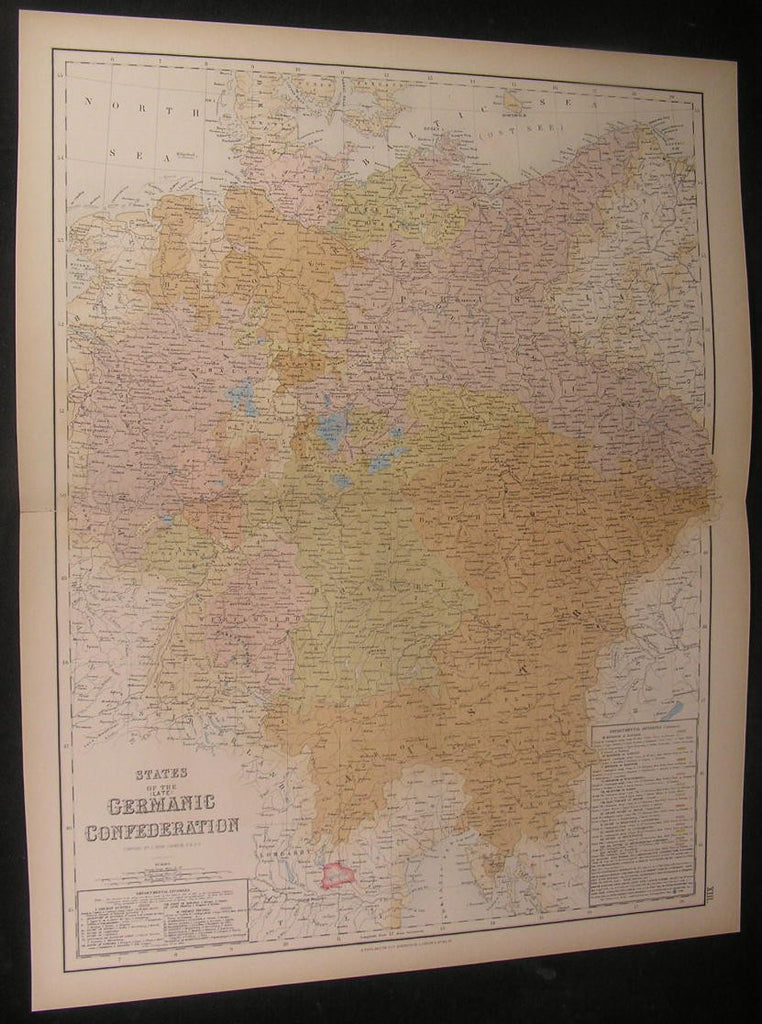States of Germanic Confederation ca. 1860 Fullarton fine old vintage antique map