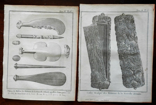 New Zealand 1774 Maori Sculpture Craft Goods Oars Paddles Chest lot two prints