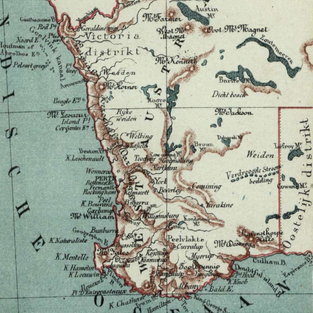 West Australia Indian Ocean 1882 charming small Dutch old map ... on