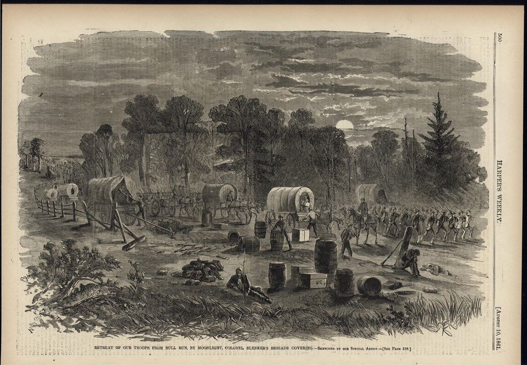 Bull Run night retreat Col. Blenker troops 1861 antique Harpers Civil War print