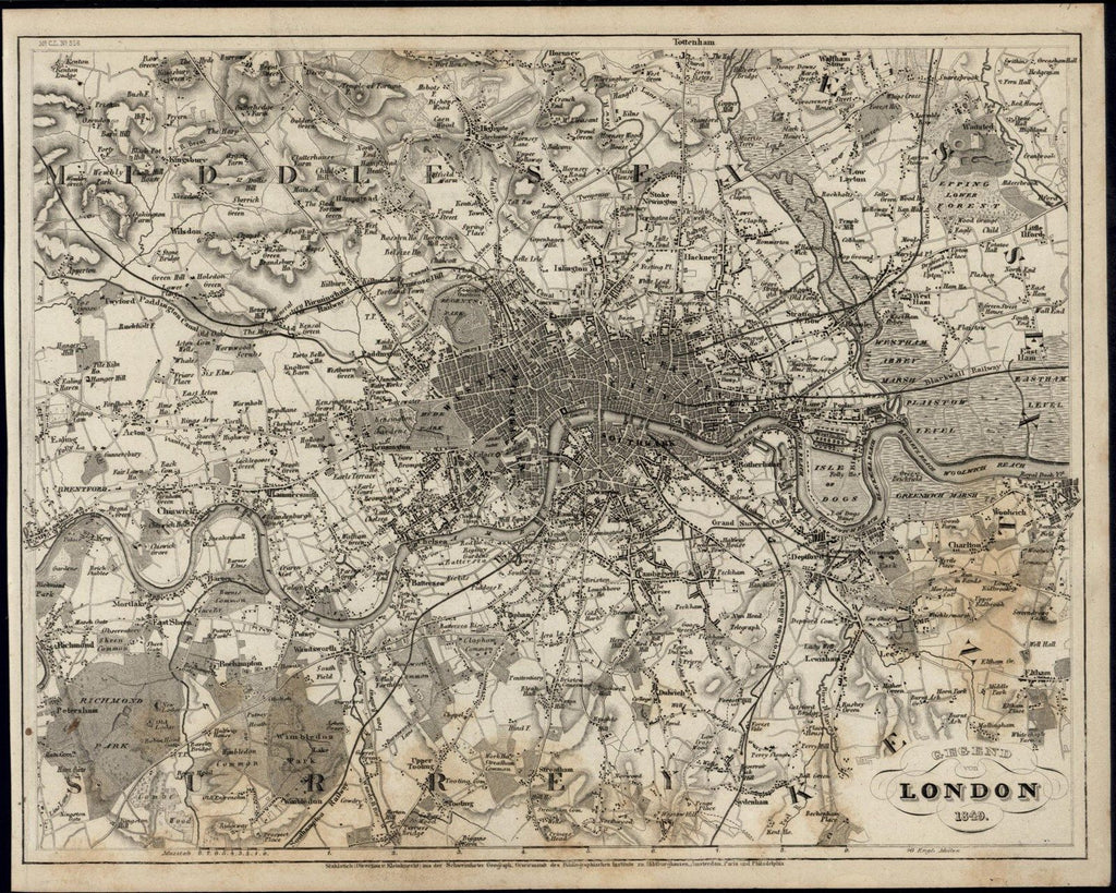 London England City Plan Great Britain 1849 Meyer scarce lovely antique map