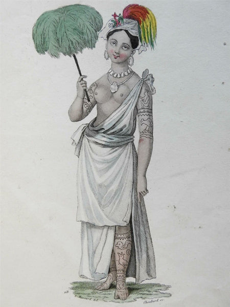 Indigenous Noblewoman Tattoos Leaf Umbrella Feathered Headdress 1850 ethnic view