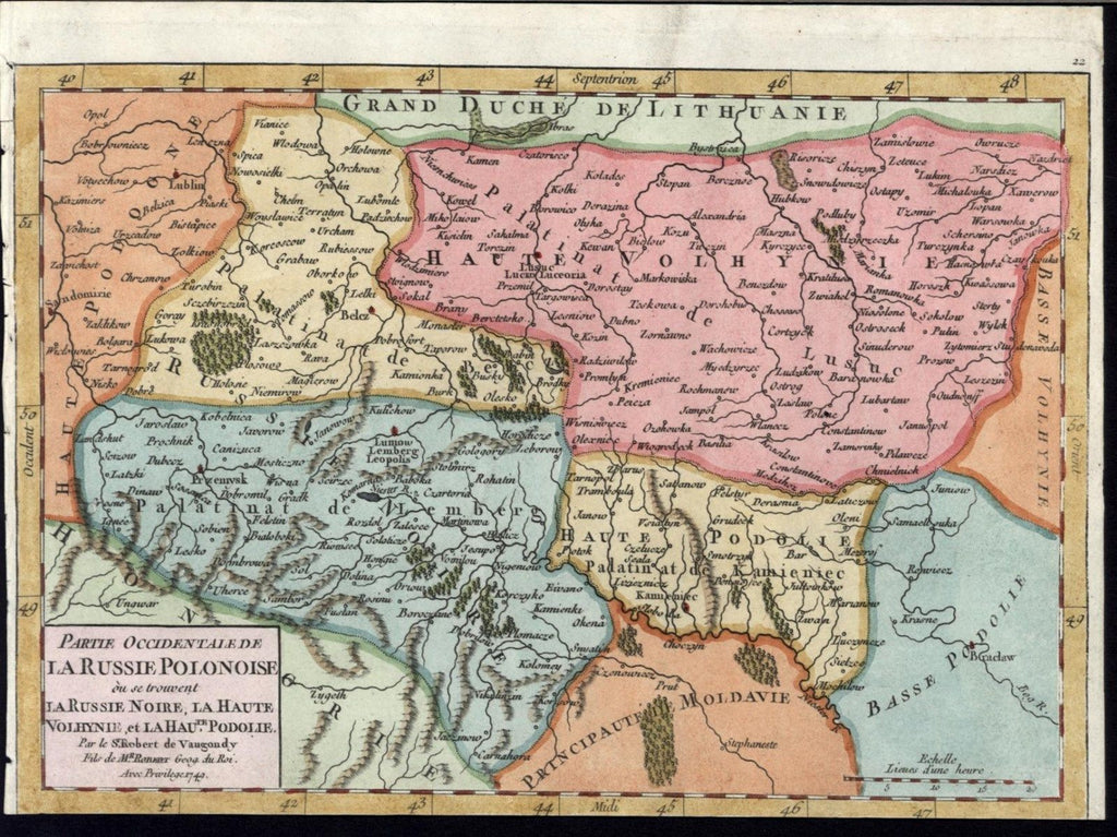 Western Russian Poland  1749 Vaugondy old vintage engraved hand color map