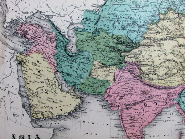 Asia Persia China Arabia Chinese Empire Burma Siam India 1882 scarce old map