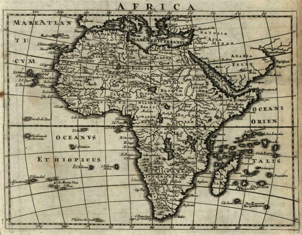 Africa Continent Mts. Moon Nile Source 2 large lakes 1701 Moll miniature map