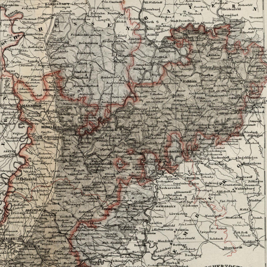 Map Of Old Germany.Germany Grand Duchy Grossherzogthum Baden 1867 Meyer Small Old Map