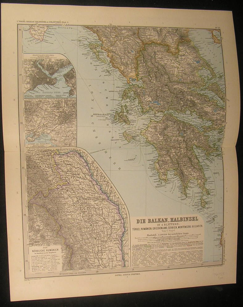 Greece Peloponnese Corfu Gulf of Corinth Balkans 1890 antique engraved color map