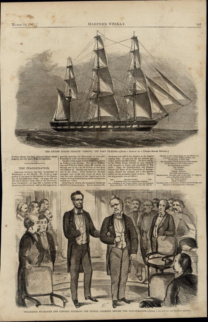Presidents Buchanan & Lincoln Inauguration nice 1861 great old print for display