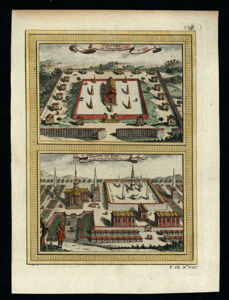 Siam Pagoda Southeast Asia Thailand 1751 charming birds-eye view w/ hand color
