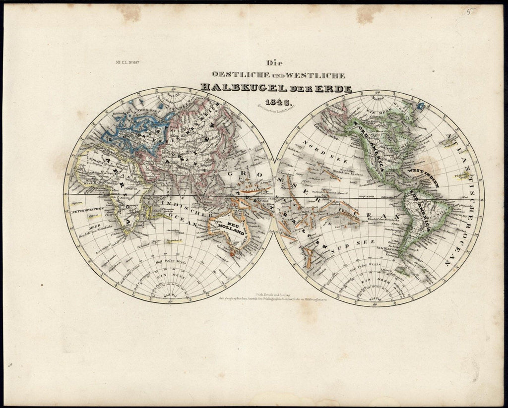 World Map Eastern & Western Hemispheres 1846 Meyer scarce lovely antique map
