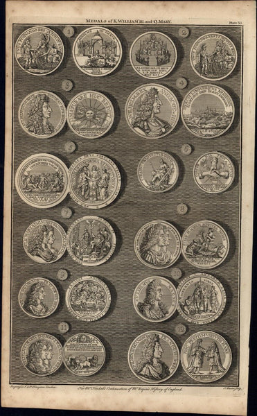 Medals of King William Queen Anne 1747 British Numismatic Medal print Basire