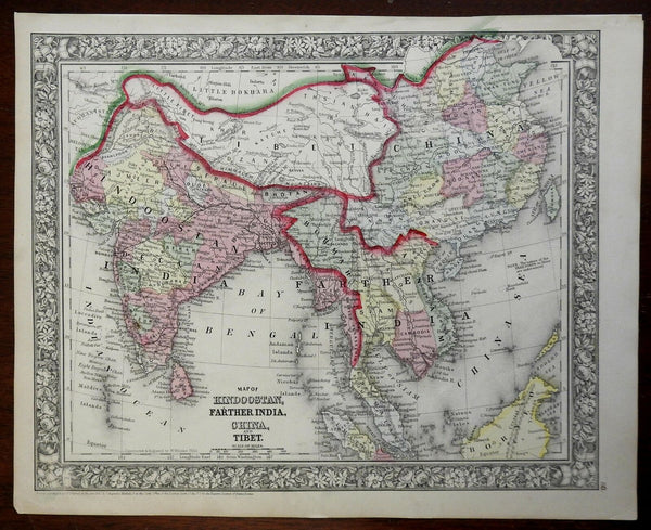 Asia India British Raj Southeast Asia Qing China Tibet 1860 Mitchell map