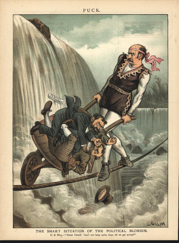 County Democracy Balance Tammany Tight Rope 1885 antique color lithograph print