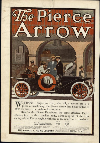 Pierce Arrow early automobile color ad 1909 Harper's vintage print
