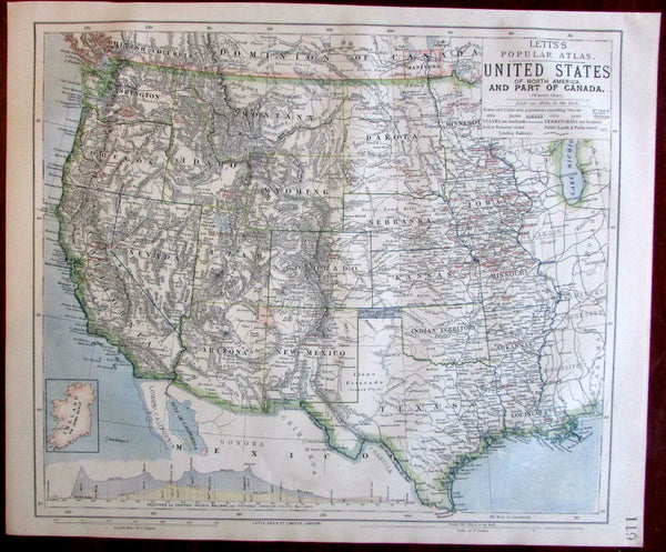 Western United States Texas California OR WA NM CO UT NV MT 1883 Lett's map