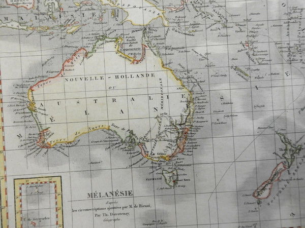Australia New Zealand New Holland South Pacific Islands 1837 Duvotenay map