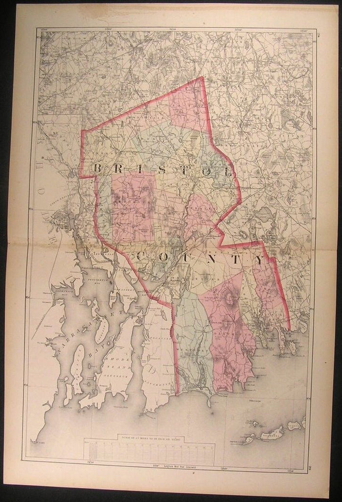 Bristol New Bedford Fairhaven Mansfield Massachusetts County 1871 antique map