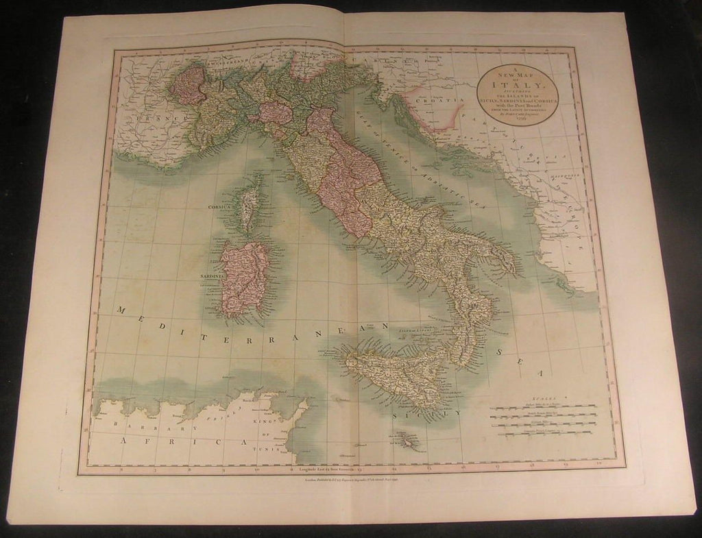 Map of Italy 1799 Cary folio color Sicily Corsica fine antique map