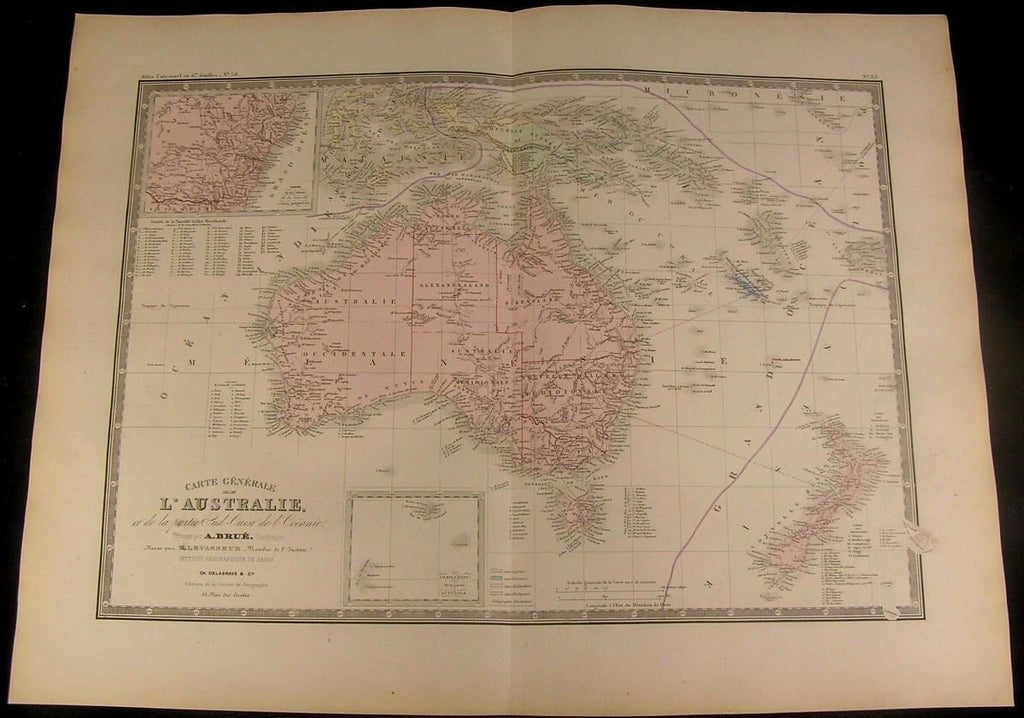 Australia New Zealand Tasmania New Guinea 1875 fine Brue detailed antique map