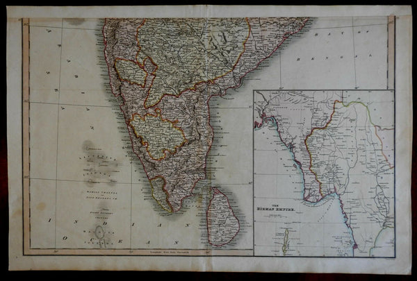 Southern India Hyperdbad Ceylon Birman Empire c.1815 Smith large detailed map