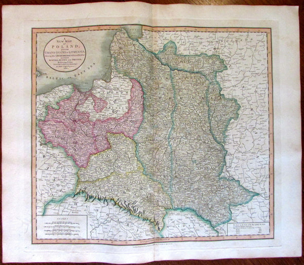 Poland Lithuania Baltic Sea Russia 1811 John Cary lovely large detailed old map