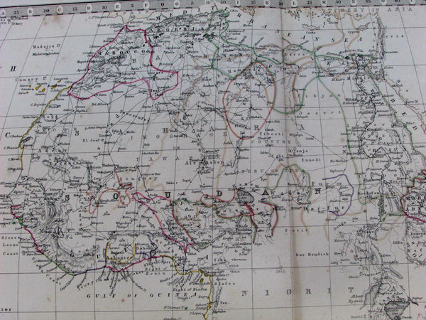 "Africa ""Nigritia"" unexplored lands Cape Colony Soudan 1868 old Johnston map"