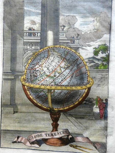 Earth a Globe Africa Asia Europe Australia c.1720 lovely engraved print