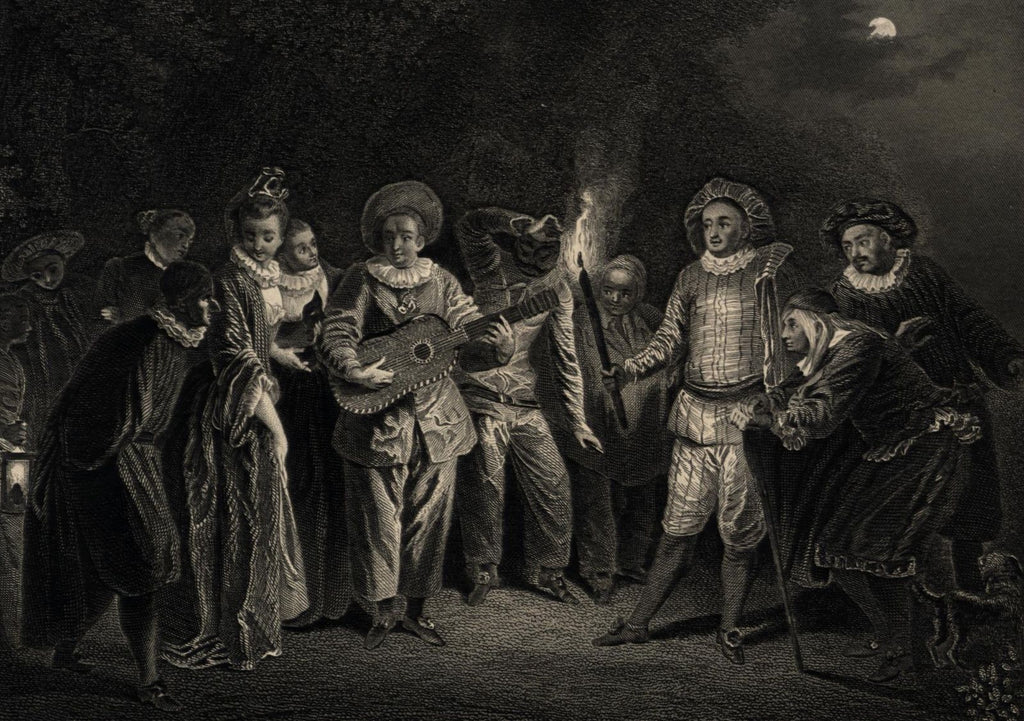 Masquerade partygoers outside music revelers torch c.1870 steel engraved print