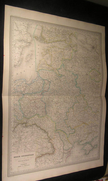Western Russia Crimea Poland Baltic 1863 antique Dufour large hand color map