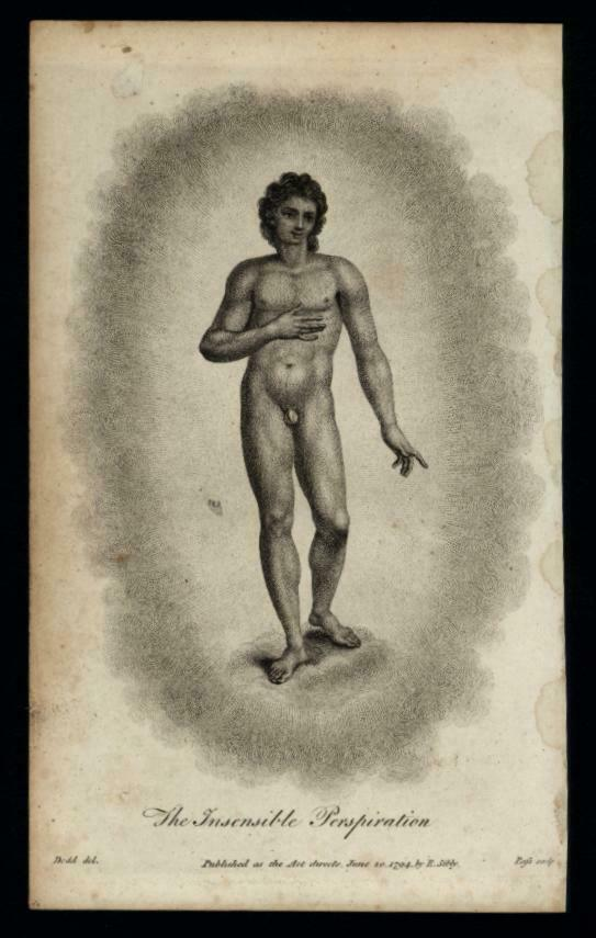 Male Nude 1794 Insensible Perspiration 18th century science allegorical print