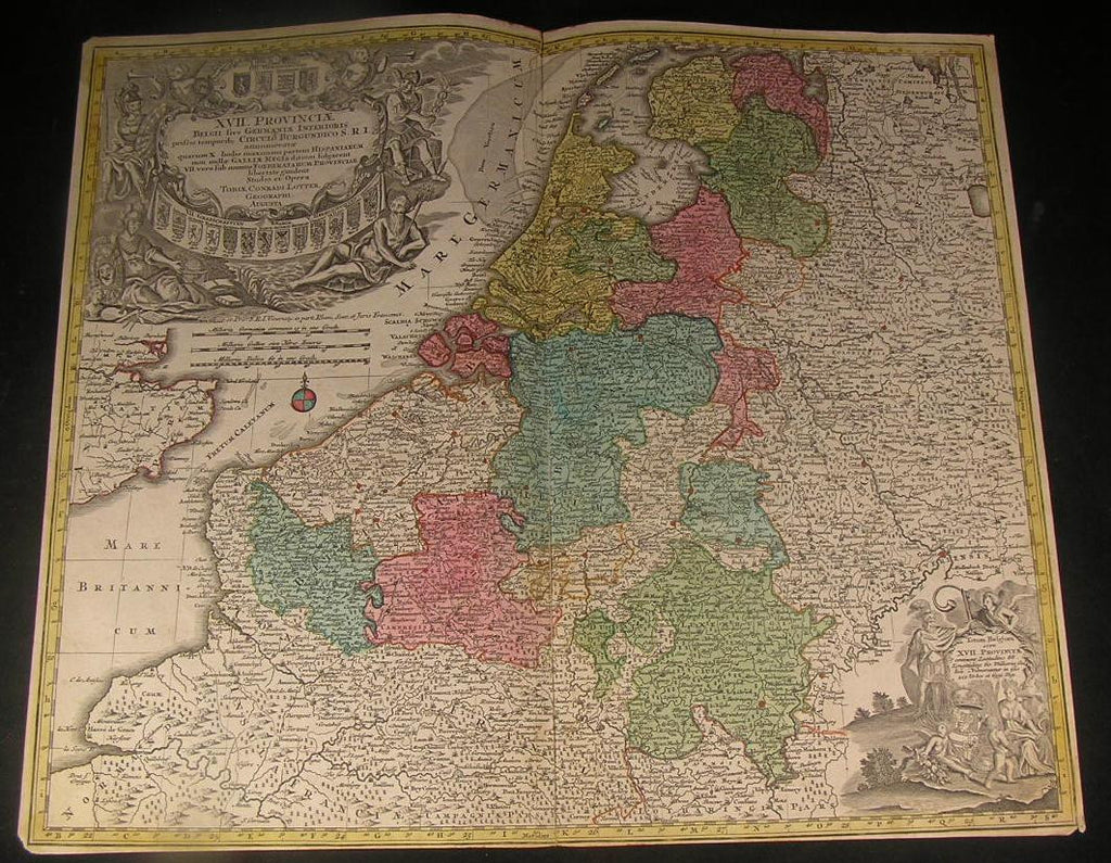 Belgium Netherlands Luxemburg Flanders ca. 1730 Lotter decorative antique map