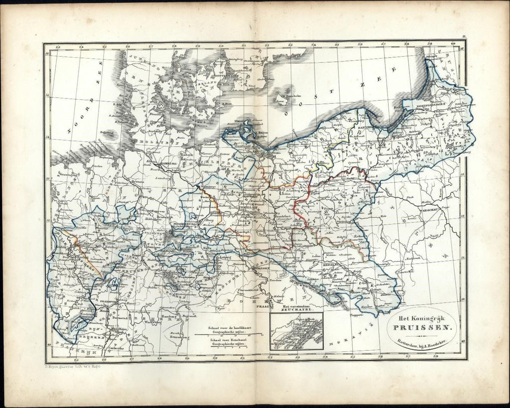 Prussia Ost Zee Silesia c.1844 rare Adolph Baedeker Petri engraved Dutch map