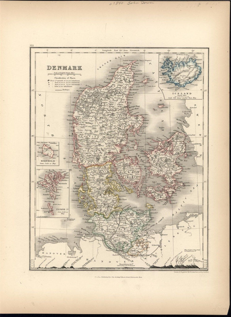 Denmark c.1840 Dower fine old vintage antique map