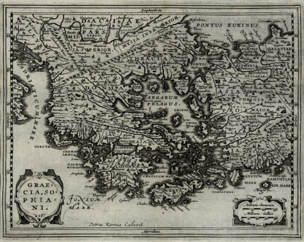 Greece Peloponnese Turkey 1661 Jansson van der Keere engraved miniature map