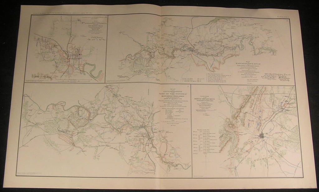 Field Operations Army of the Potomac c.1890s huge detailed antique Civil War map