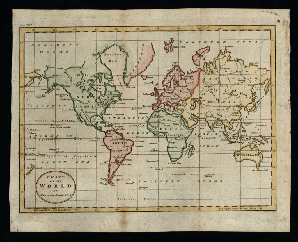World Map naming River of West 1796 charming map Tasmania attached to Australia