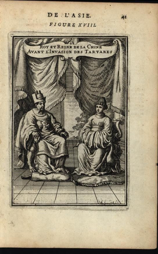 King & Queen of China Before Tartar Invasion Regal 1683 antique engraved print